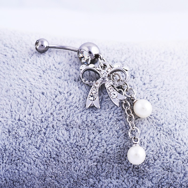 HTB1XhptNVXXXXc9XXXXq6xXFXXXR Sexy Butterfly Bow Dangling Belly Button Ring For Women - 2 Colors