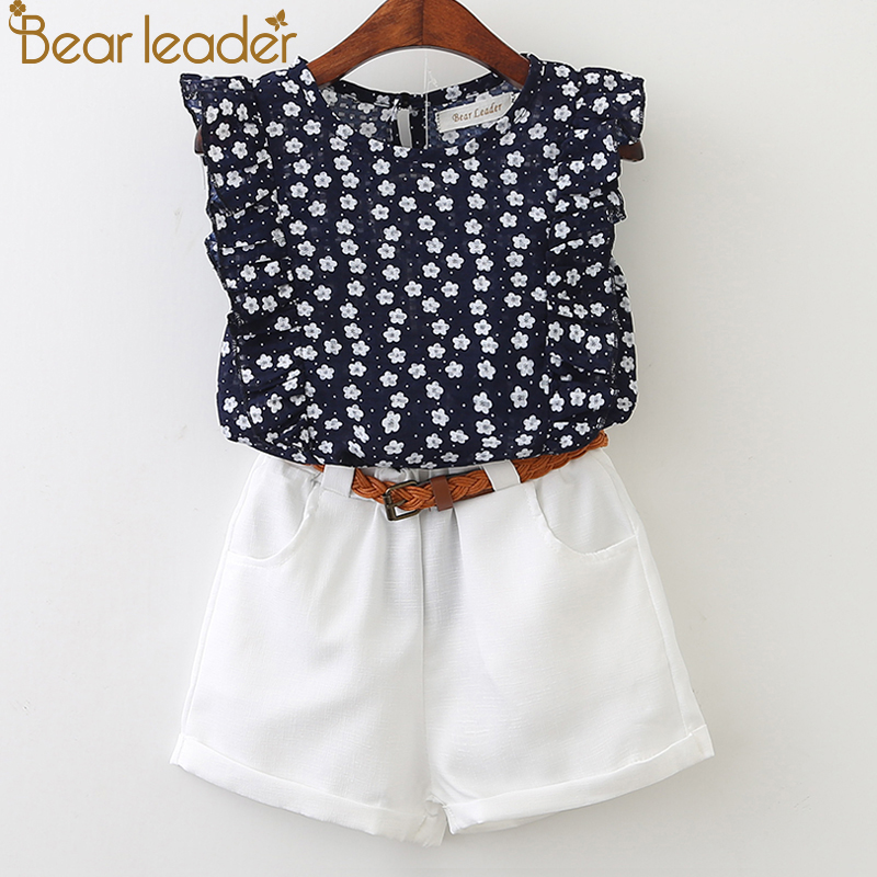 333f864d3 Bear Leader 2019 New Summer Casual Children Sets Flowers Blue T-shirt+  Pants Girls Clothing