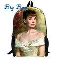 Одри Хепберн рюкзак мультфильм мешок школы с Одри Хепберн дизайн рюкзак сумка для детей бесплатная доставка