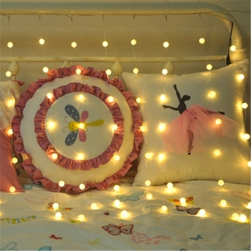 Led star lights starry soft sister girl heart room decoration string lights broken ball crystal ball curtain lamp curtain lights 40 led grinding white ball christmastree string lights decorated colored lamp