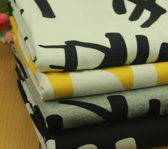 3f7d5565093 50 *160cm Letters Printed Stretchy Cotton Knitted Fabric For T Shirt Dress  Pajamas