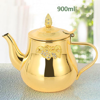 0.9L Brewing teapot stainless steel home teapot restaurant hotel tea boiling teapot antique induction cooker tea pot gifts 900ML