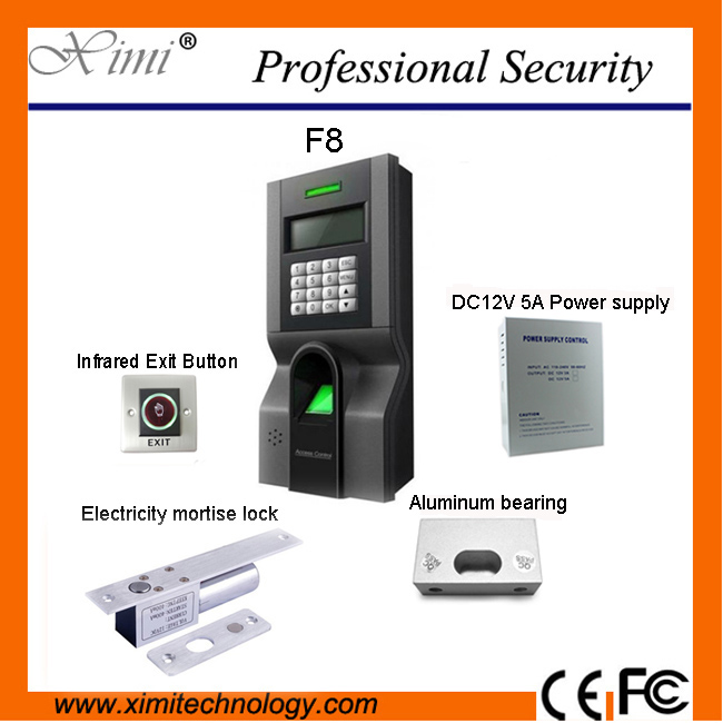 Access control system F8 door access control system with power supply, electric lock, infrared exit button, bracket