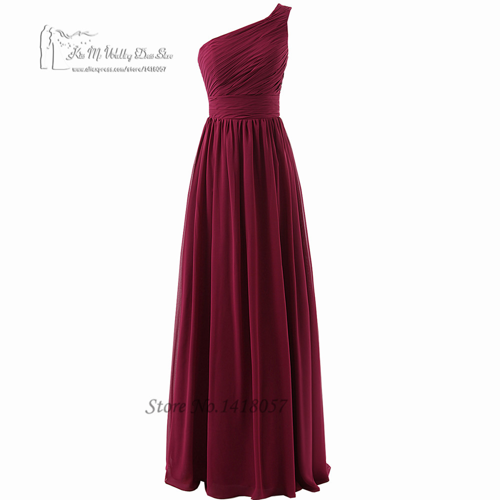 2016 Purple   Bridesmaid     Dresses   Long Chiffon Floor Length One Shoulder Wedding Party   Dress   Pleated Robe demoiselle d'honneur