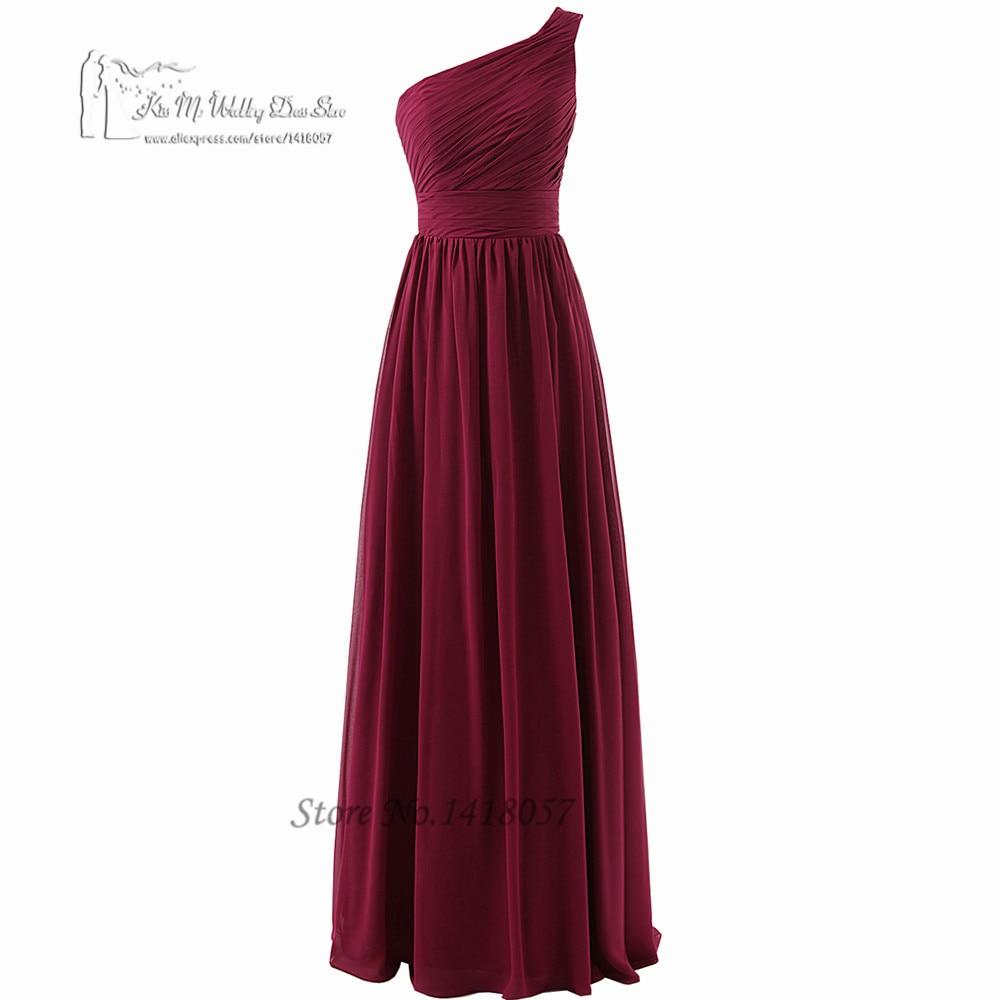 2016 robes de demoiselle d'honneur pourpre longue en mousseline de soie longueur de plancher une épaule Robe de soirée de mariage plissée Robe demoiselle d'honneur