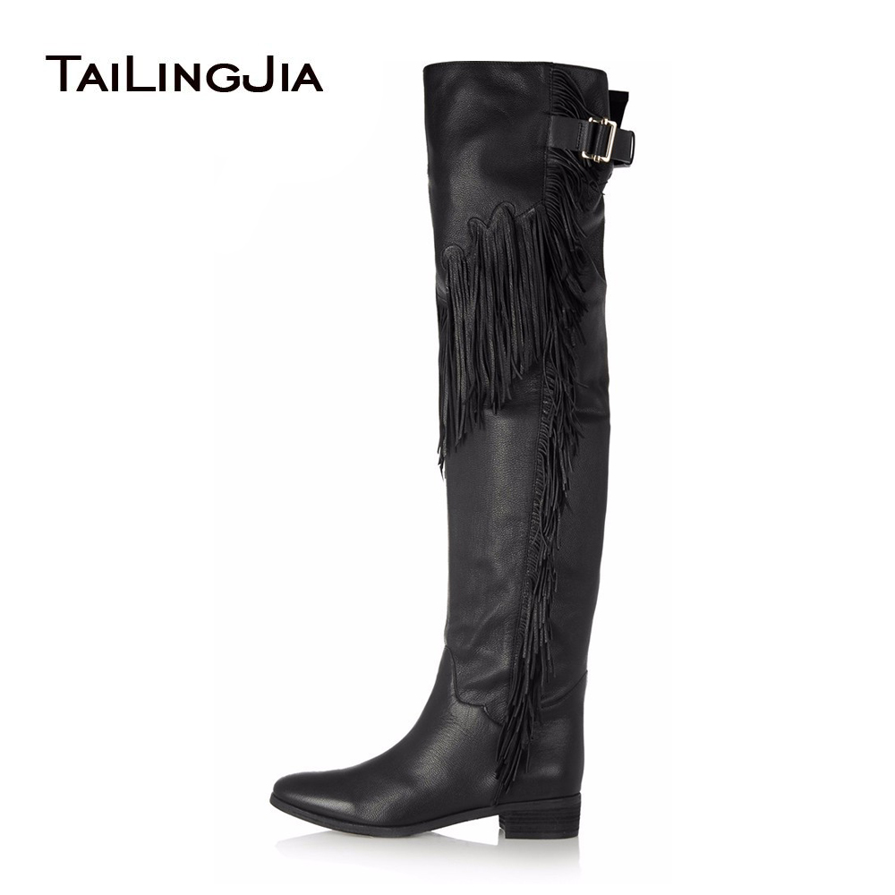 Women Black Brown Flat Tassel Over Knee High Boots 2017 Ladies Winter Shoes Low Block Heel Thigh High Boots Plus Size Wholesale стоимость
