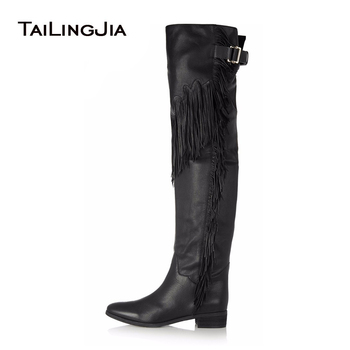 Women Black Brown Flat Tassel Over Knee High Boots 2017 Ladies Winter Shoes Low Block Heel Thigh High Boots Plus Size Wholesale