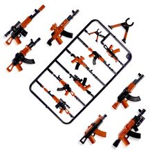 Compatible with Military Occupations Humanoid Stacking Blocks Weapons, Plastic Accessories, Colored Weapons, 6pcs AK47 Blocks(China)