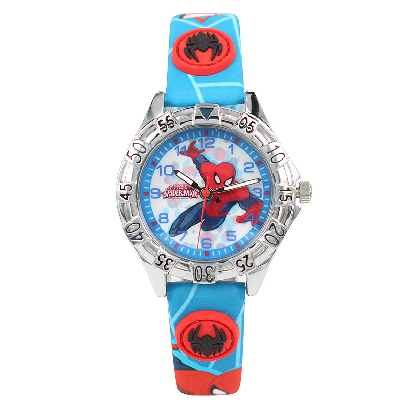 Children's Watches Disney Brand Cartoon Spider-Man Children Boys Watch Students Boy Clocks Waterproof Leather Quartz Wristwatch