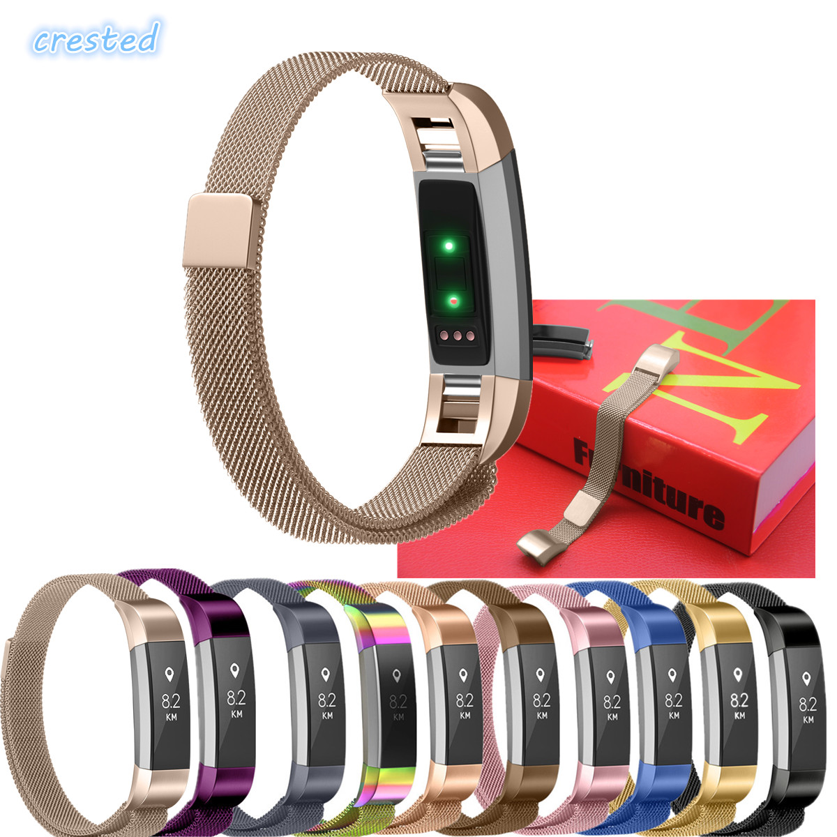 CRESTED Milanese loop strap for fitbit Alta hr replacemet band fitbit Alta wristband Link Bracelet Stainless Steel watch band