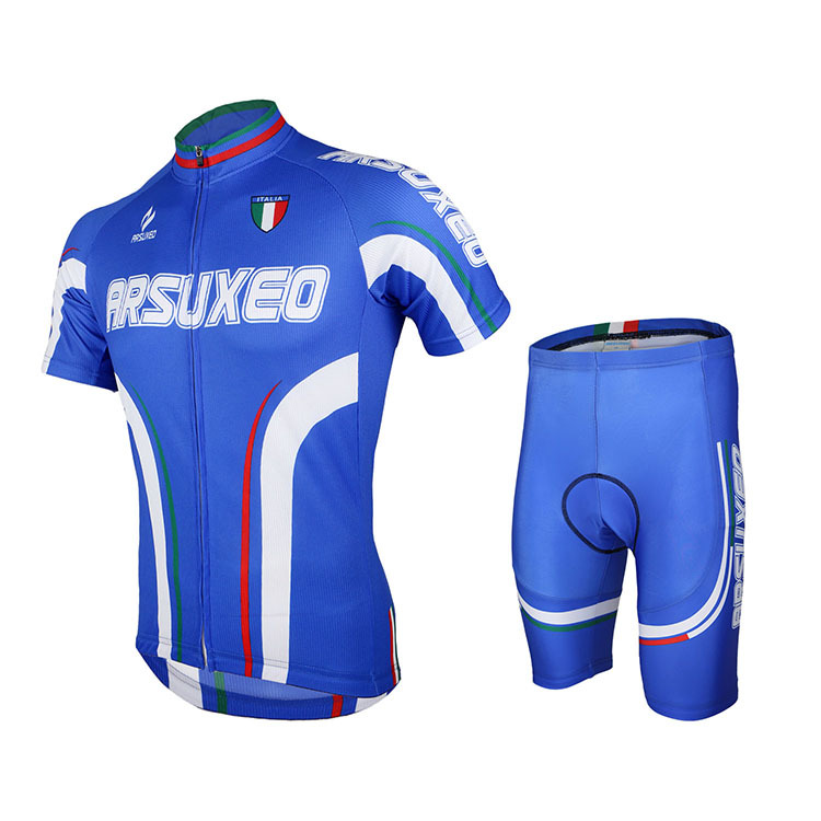 Men Cycling Clothing Short Sleeve Jersey Padded Shorts Set Breathable MTB Bike Bicycle Blue Free Fast Shipping