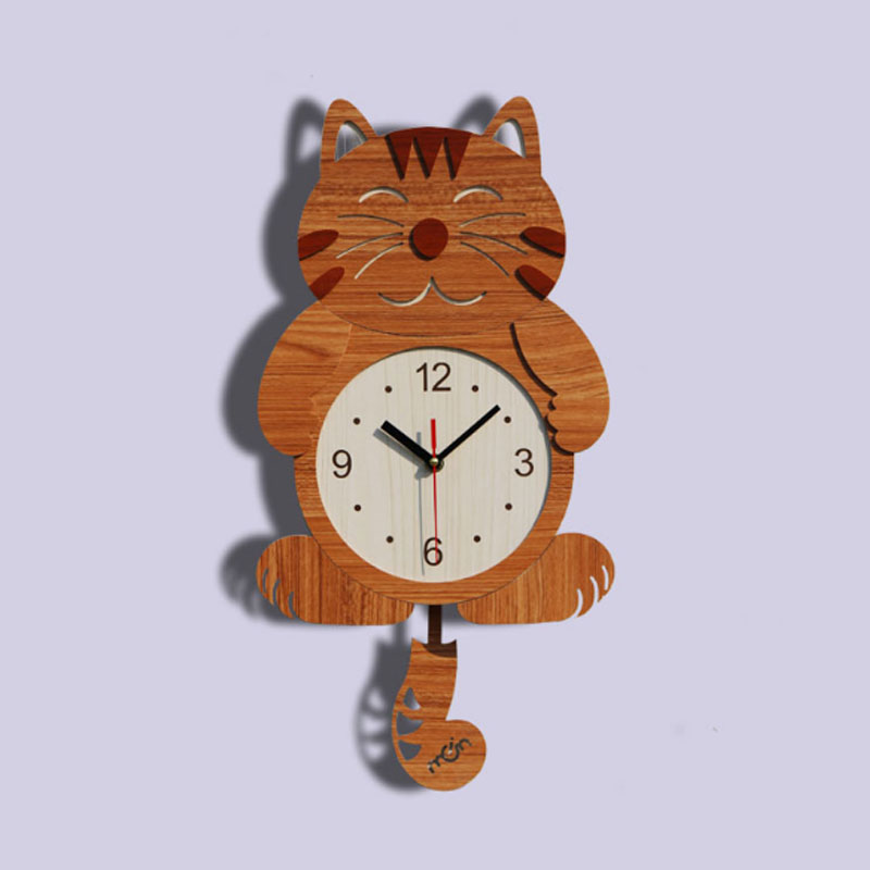 Wooden Cute Child Cat Creative Living Room Wall Clock Watch Modern Minimalist Fashion Watch Hanging Round Rural Household Mute