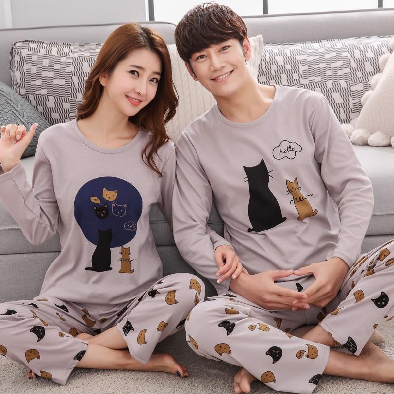 Autumn Winter Couple Pyjamas Cotton Pj Pajamas Set Women Cartoon Sleepwear Pajama Sets Pijamas Mujer Girl Pyjamas Home Clothing