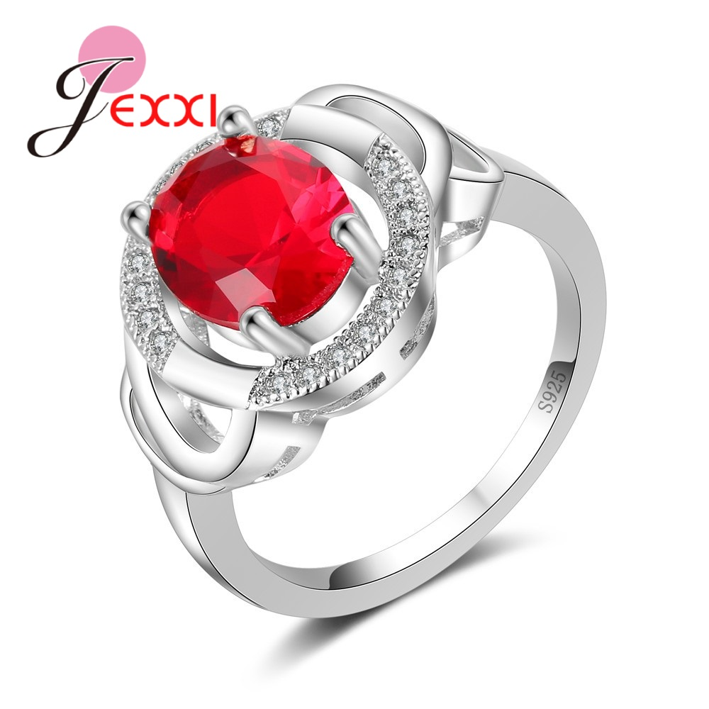 YAAMELI Cubic Zirconia Rings For Wedding Accessory 925 Sterling Silver Red Crystal Engagement Ring Jewelry Women Promise Rings