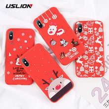 USLION Cartoon Christmas Case For iPhone 7 8 6 6S Plus Santa Claus Soft Phone Case For iPhone XR XS X Xs Max TPU Silicone Cover(China)