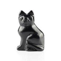 2.0 pollici Cat Figurine Naturale scolpito In Pietra di Quarzo Rosa Guarigione Di Cristallo Ufficio Complementi Arredo Casa Fengshui Trasporto Libero