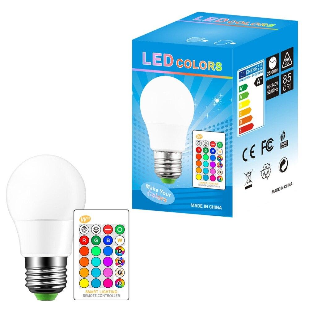 Купить с кэшбэком E27 LED 3/5/10W 16 Color Changing Magic Bulb 220V 110V RGB + White Remote LED Light lamp Dimmable + Memory IR Remote Control