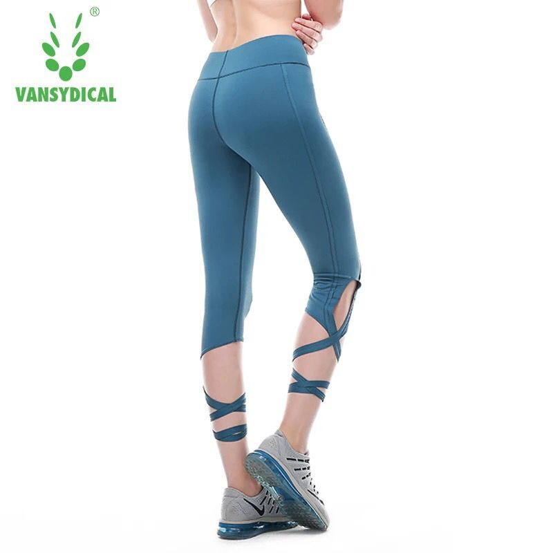Vansydical Women Yoga Pants Sport Leggings High Waist Fitness Cross Yoga Ballet Dance Running Tight Bandage Cropped Pants Sports