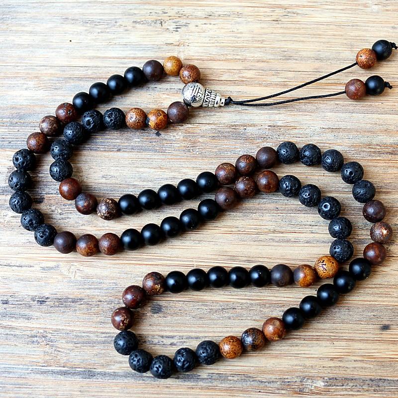 New Design fashion Black Men's 8mm Black Lava Stones Brown natural stone Bead Necklace Fashion Jewelry