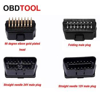 ObdTooL New 12V 24V Plug OBD2 16pin Male Connector 90 Degree Elbow Gold Plating OBD II Adapter Socket for ELM327 Auto Scanner