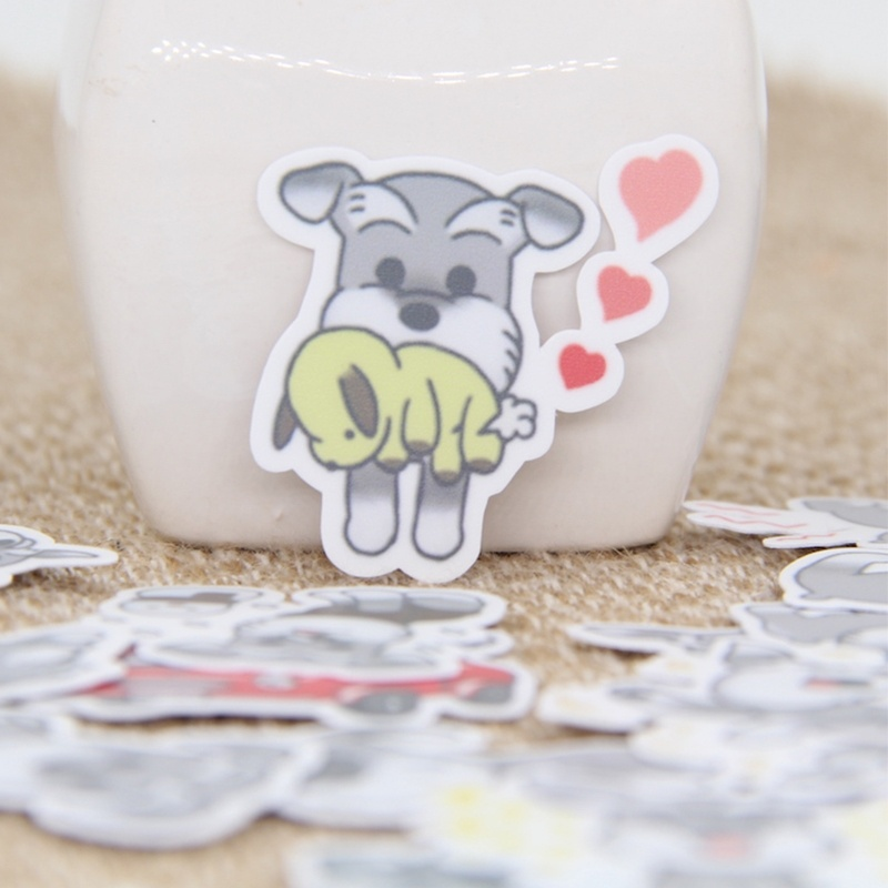 20/40pcs Cartoon Pretty Cute Schnauzer Dog Sticker Diary Sticker Scrapbook Decoration PVC Stationery Sticker Random Not Repeat