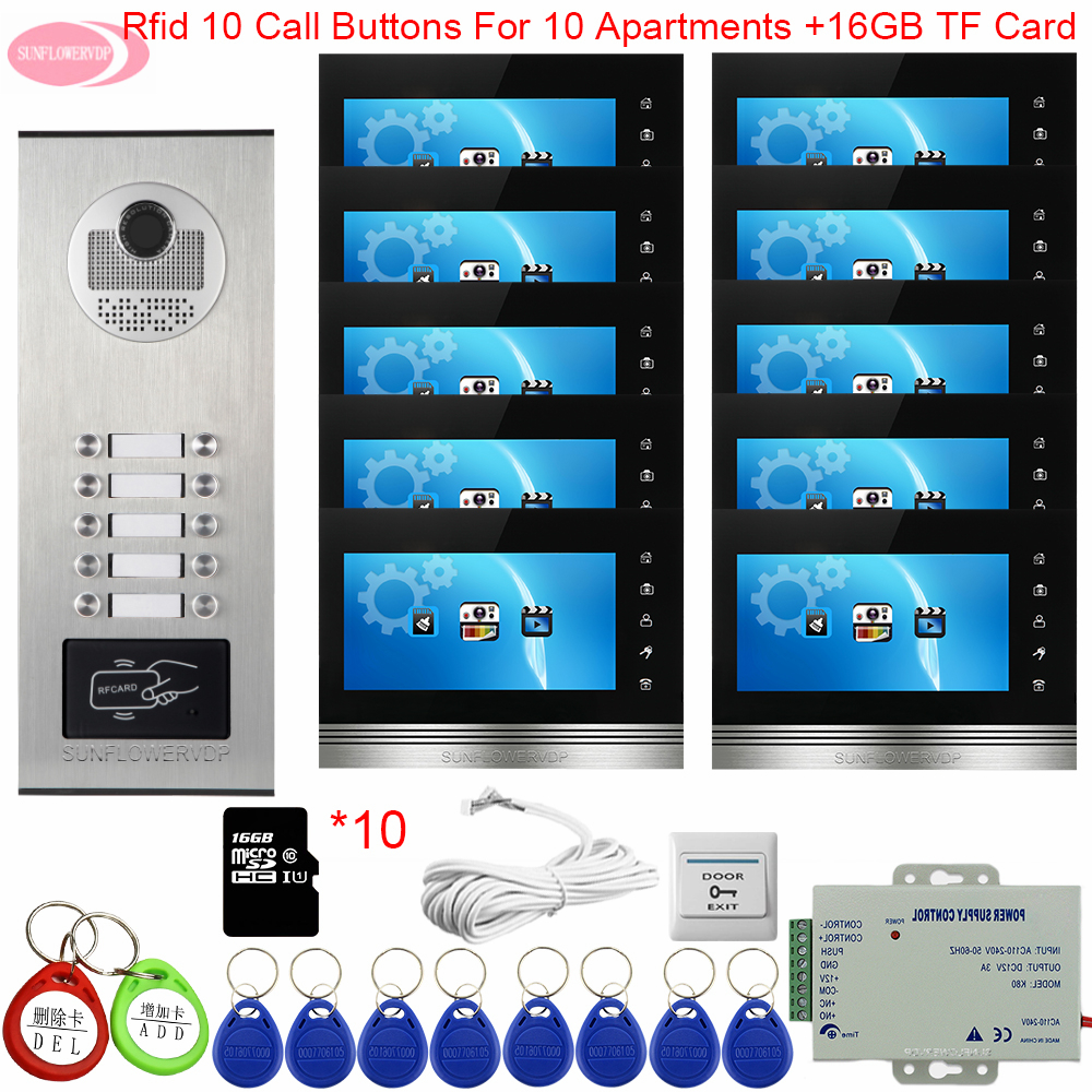 7inch Color Touch Buttons Video Intercom With Recording + 16 GB TF Card RFID Video Intercom System Outdoor Waterproof Door Bell