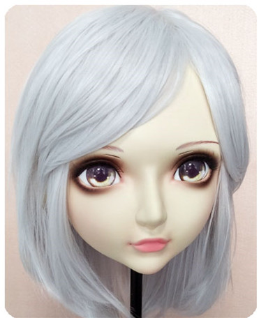 Sweet Girl Resin Half Head Bjd Kigurumi Mask With Eyes Cosplay Anime Role Lolita Mask Crossdress Doll gl084 Steady