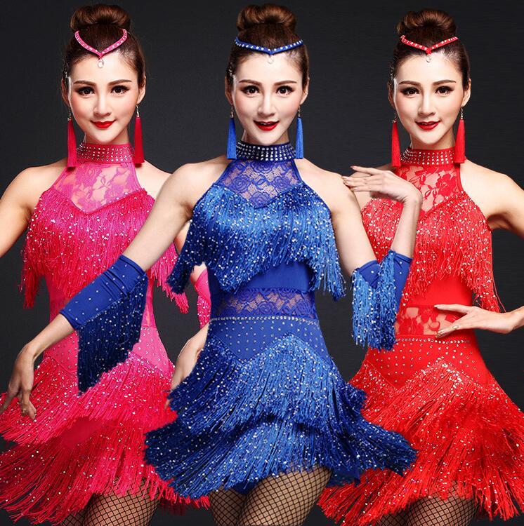 New Latin Dance Costumes Women Salsa Dancewear Dance Costume Dresses Ballroom Competition Dresses Tango Adult Fringe Gold Sequin