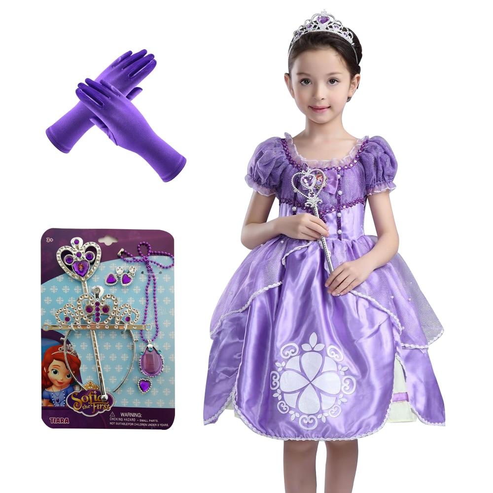 b788fdf837be3 2018 جديد الصيف طفلة قصيرة الأكمام فستان الأميرة صوفيا القوس نمت اللباس  الأطفال الأميرة فساتين الاطفال
