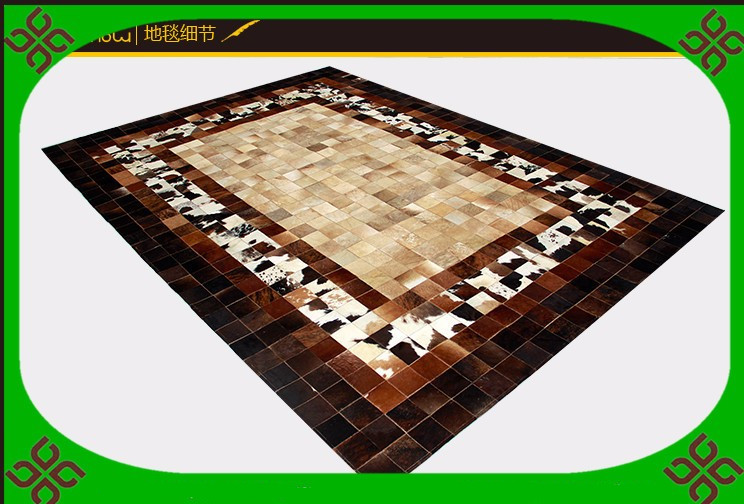 Fashionable art carpet 100% natural genuine cowhide leather polyester carpetFashionable art carpet 100% natural genuine cowhide leather polyester carpet