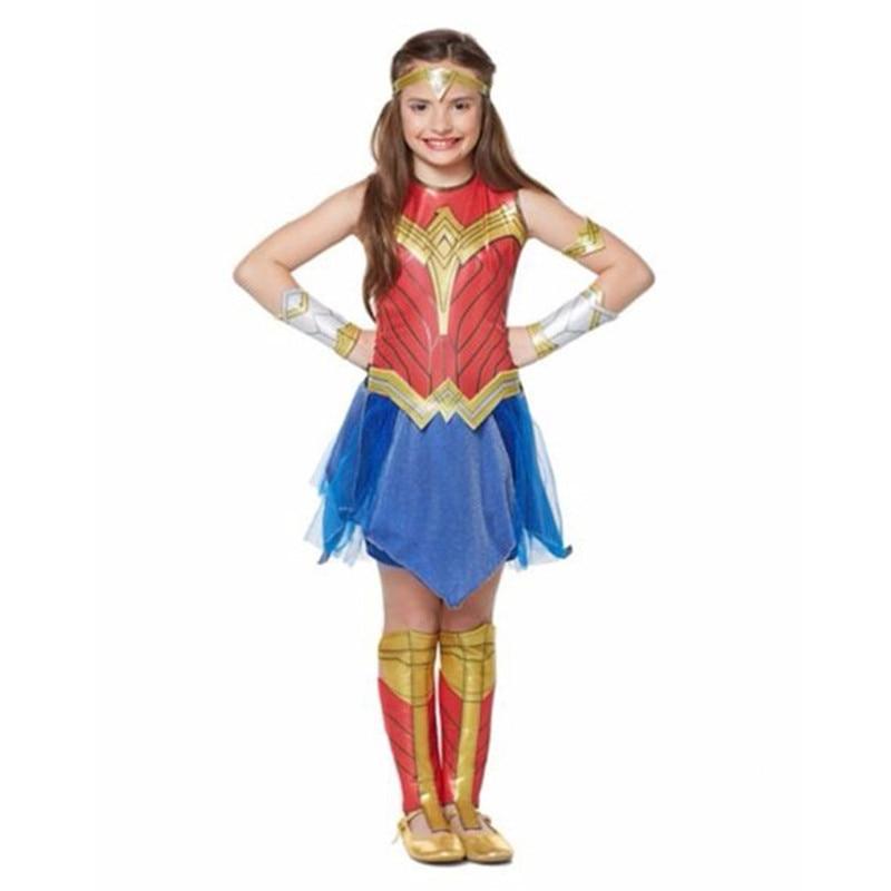 Girls Wonder Woman Cosplay Costume Superhero Dawn Of Justice Wonder Woman Princess Fancy Dress Girls Christmas Birthday Gift