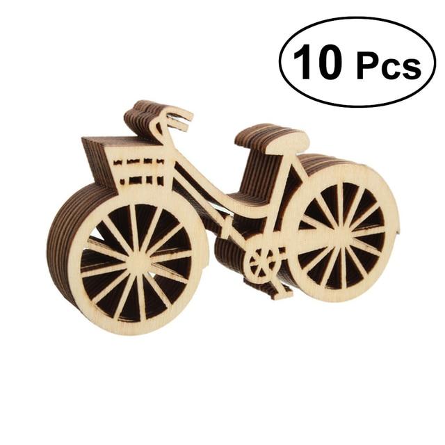 10 pcs Bicicleta Recorte De Madeira Folheados Fatias DIY Artesanato Enfeite Para O Acoplamento Do Casamento Festival Festa Temática