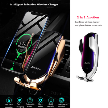 Automatic Clamp Car Wireless Charger 10W Quick Charge Mount for Iphone XR XS Huawei P30Pro Qi Infrared Sensor Phone Holder 1