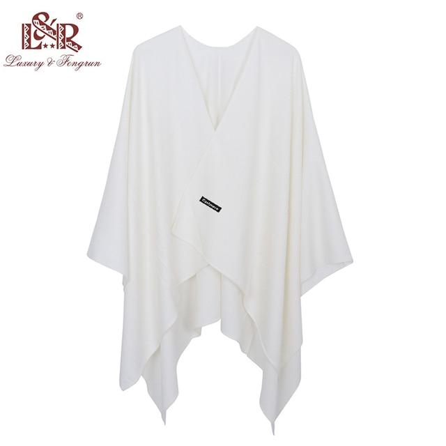 2020 New Fashion Cashmere Winter Women Poncho Scarves Women Solid Shawl Cape Foulard Femme Pashmina Female Bufanda Mujer Sjaal 6