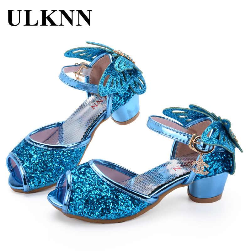 0d961509e309 ULKNN Girls Sandals Princess Shoes Children High Heels Shoes Wedge Butterfly  Glitter Kids Shoe Party Dance