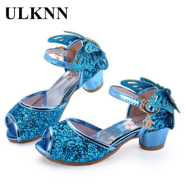 ULKNN Girls Sandals Princess Shoes Children High Heels Shoes Wedge Butterfly  Glitter Kids Shoe Party Dance 95c76eb93612