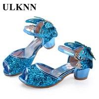 ULKNN Girls Sandals Princess Shoes Children High Heels Shoes Wedge Butterfly Glitter Kids Shoe Party Dance