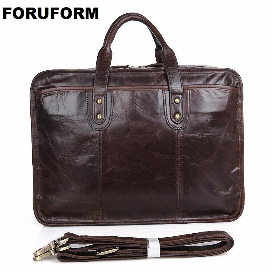 100% Real Genuine Leather Bags Men's Business Briefcase 15.6 Inch Laptop Bag Men Travel Messenger Bag Casual Handbag LI 1363-in Briefcases from Luggage & Bags    1
