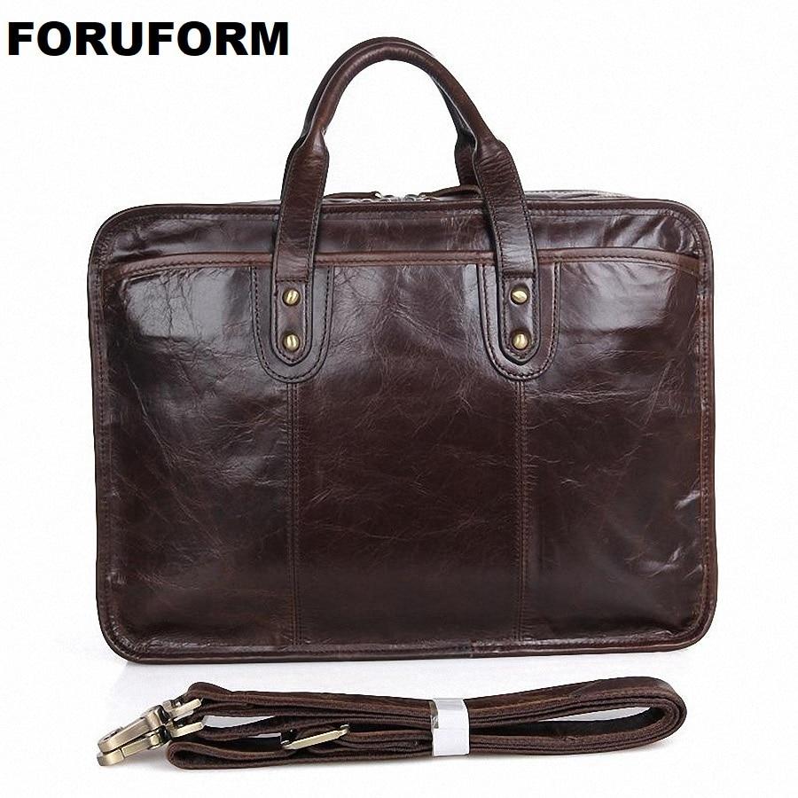100% Real Genuine Leather Bags Men's Business Briefcase 15.6 Inch Laptop Bag Men Travel Messenger Bag Casual Handbag LI-1363