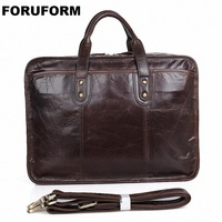 100% Real Genuine Leather Bags Men's Business Briefcase 15 Inch Laptop Bag Men Travel Bags Messenger Bag Casual Handbag LI 1363