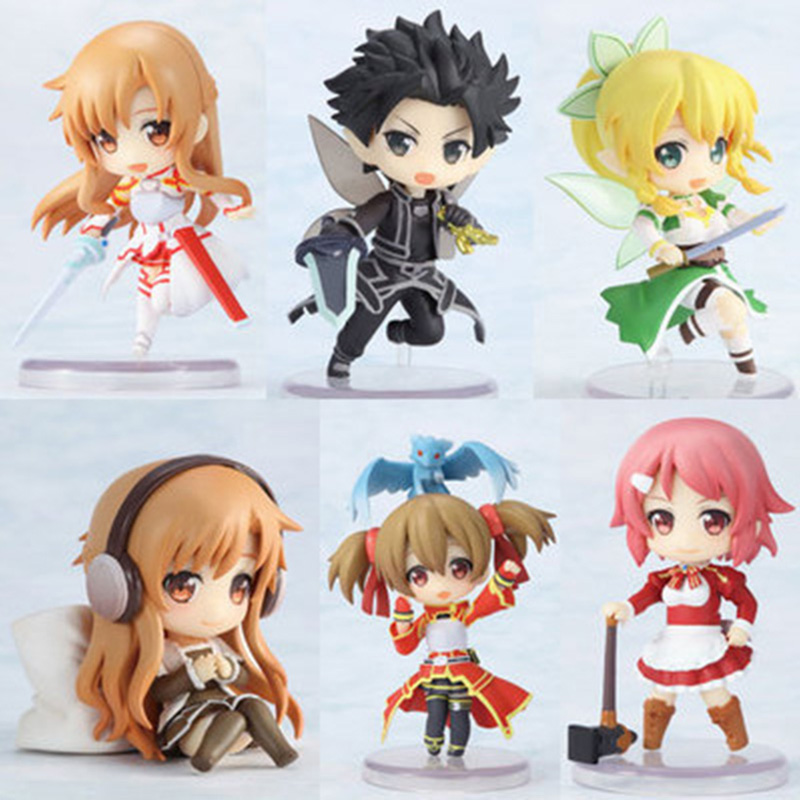 6pcs/set 6cm Sword Art Online Kirigaya Kazuto Yuuki Asuna PVC Action Figure Toys Anime Figures Collectible Model Toy with Box 4 10cm 382 sword art online pvc figures yuki asuna model toys with gift box gifts brinquedos