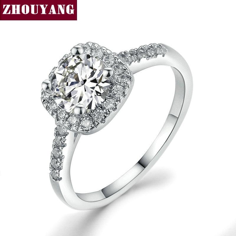 Серебряный Цвет Изысканный Bijoux Мода квадратный свадьбы и Обручение кольцо Сделано с кубический цирконий, ювелирные r531 R559 r560