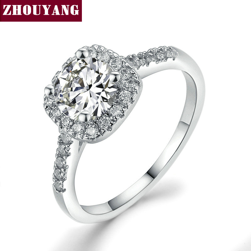 ZHOUYANG Silver Color Wedding Engagement Ring Jewelry