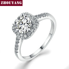 Silver Color Exquisite Bijoux Fashion Square Wedding & Engagement Ring Made With Cubic Zirconia Jewelry ZYR531