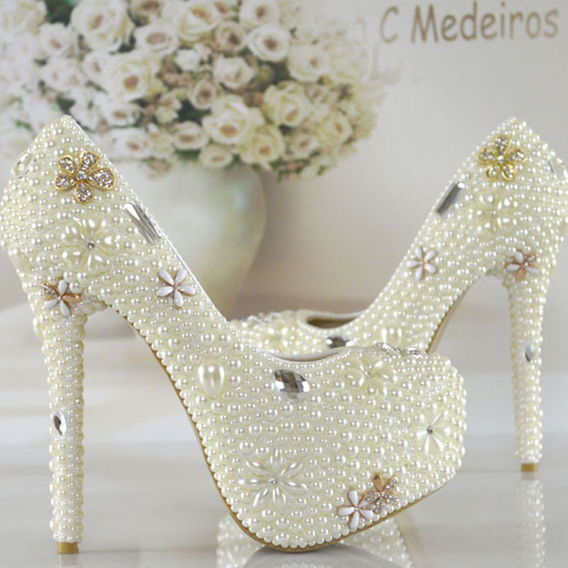 2016 Ivory White Women Formal Dress Shoes Pearl Rhinestone Bridal Dress Shoes Lady Crystal Platform High Heels Bridesmaid Shoes white pearl high heel shoes crystal platform bridal wedding shoes diamond rhinestone women shoes formal gown prom shoes
