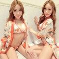 Sexy short Trajes de Kimono Japonés Albornoz Mujer Dormir Vestido Lencería Camisón Camisón Pijama de Dormir Vestido de Noche