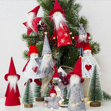 Chic Christmas Tree Pendant Santa Claus Deer Print Hanging Doll Party Decoration Xmas Tree Pendant New Year Decoration For Home