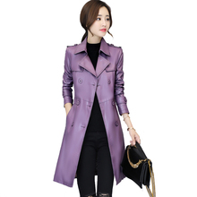 b New Autumn Winter Jacket Womens Motorcycle Faux Leather Women Double Breast Slim Long Trench PU Coat