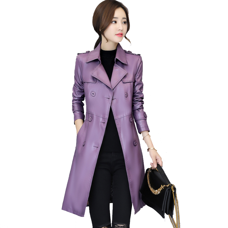 b New Autumn Winter Jacket Womens Motorcycle Jacket Faux   Leather   Jacket Women Double Breast Slim Long Trench PU Coat