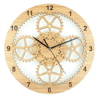 3D Retro Rustic decorative luxury art gear wooden vintage wall clock on the wall for gift
